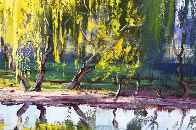 (CreativeWork) Tumut River Reflections by Graham Gercken. Oil Paint. Shop online at Bluethumb.