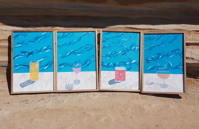 (CreativeWork)  Bondi Drinks : Screw Driver by Stella Vu. Acrylic Paint. Shop online at Bluethumb.