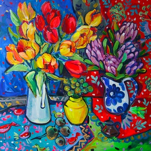 (CreativeWork) Still Life with Tulips by Katerina Apale. arcylic-painting. Shop online at Bluethumb.