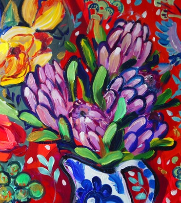 (CreativeWork) Still Life with Tulips by Katerina Apale. Acrylic Paint. Shop online at Bluethumb.