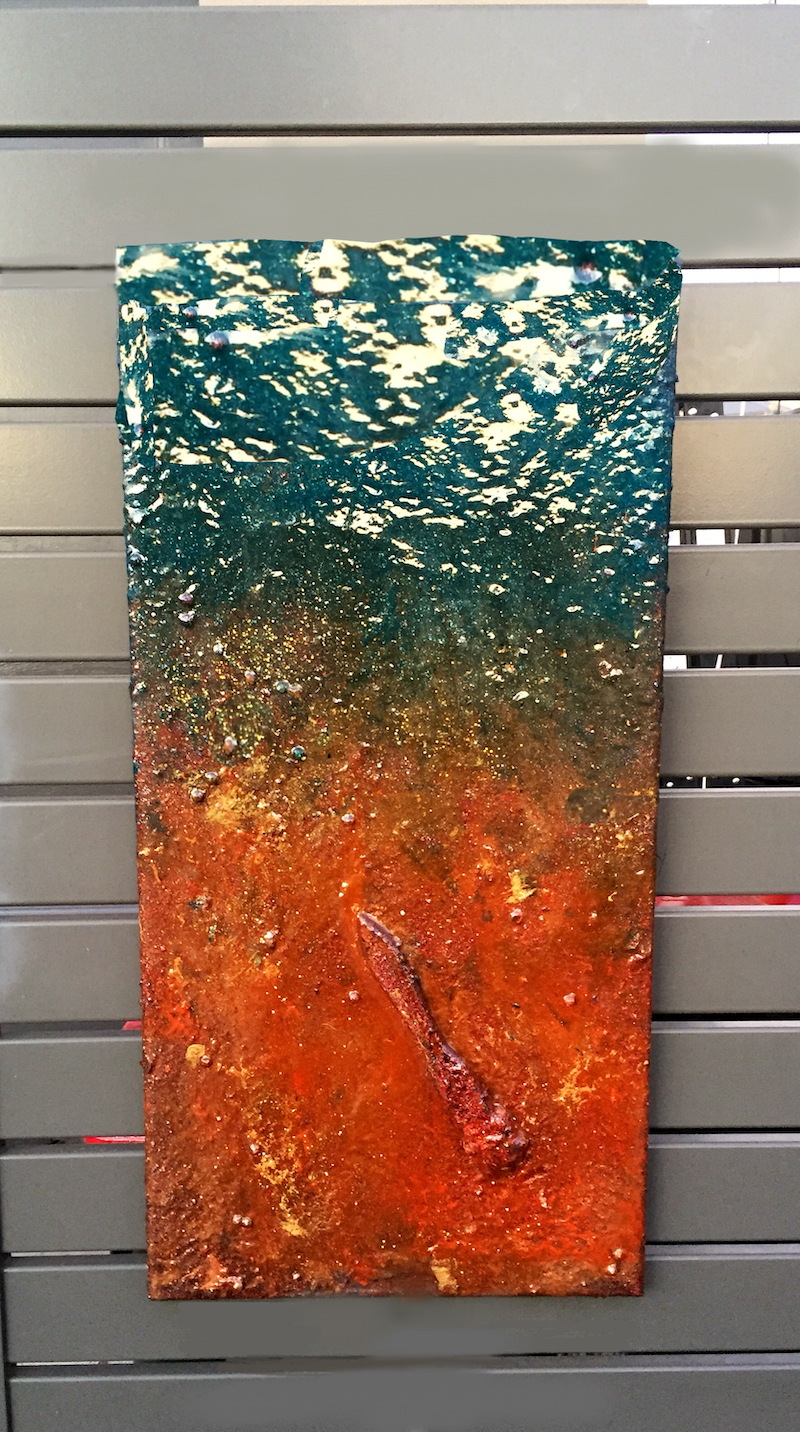 (CreativeWork) artist drop his brush  by rouna charter. Resin. Shop online at Bluethumb.