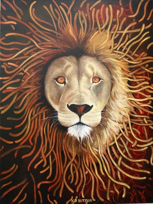 (CreativeWork) Roar Some by Kirsten Button. Oil Paint. Shop online at Bluethumb.