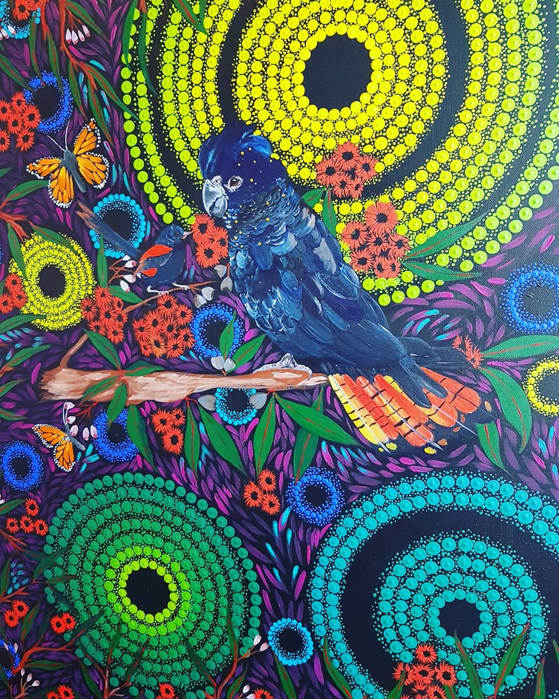 """(CreativeWork) Commissions only available on this piece. """"Rain brings life"""" by Rebecca Reid. Acrylic Paint. Shop online at Bluethumb."""