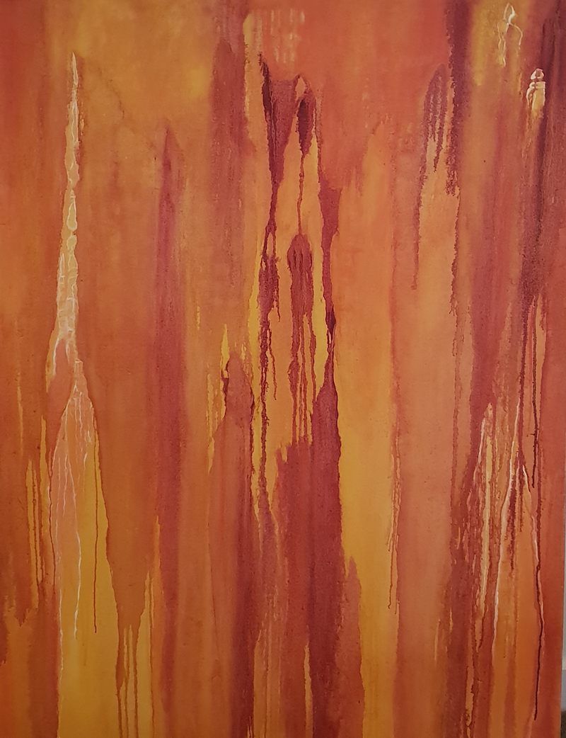 (CreativeWork) Rhapsody in orange by Vanessa Whittington. Oil Paint. Shop online at Bluethumb.