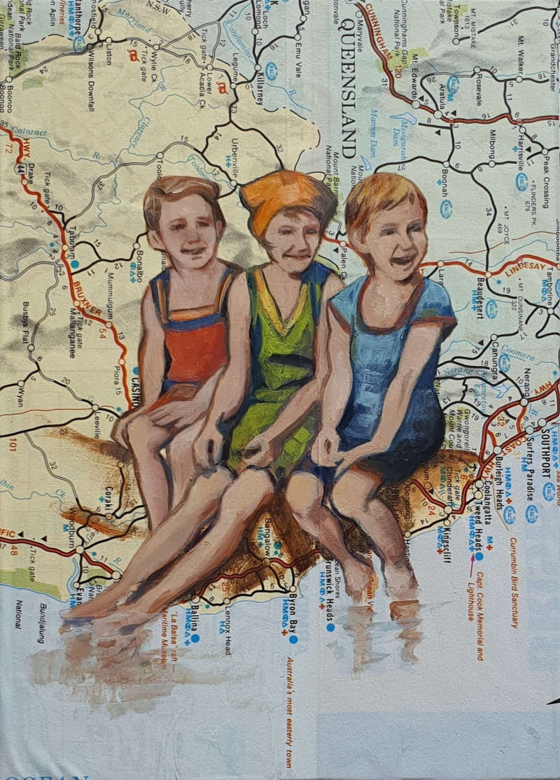 (CreativeWork) Three To Sea - map of Queensland  by Sherry McCourt. Oil Paint. Shop online at Bluethumb.