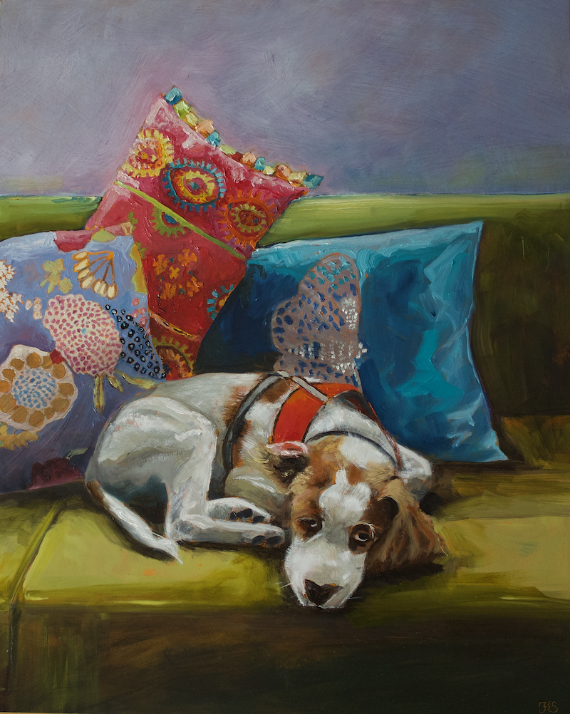 (CreativeWork) Been chasing Butterflies, Brittany spaniel dog by fiona smith. Oil Paint. Shop online at Bluethumb.