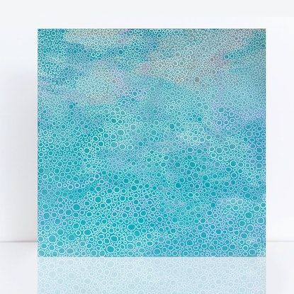 (CreativeWork) Soft seas II - blue beach abstract by Jennifer Bell. Acrylic Paint. Shop online at Bluethumb.