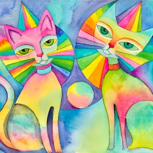 (CreativeWork) Carnival Cats   - watercolour on Arches paper, unframed by Karin Zeller. watercolour. Shop online at Bluethumb.