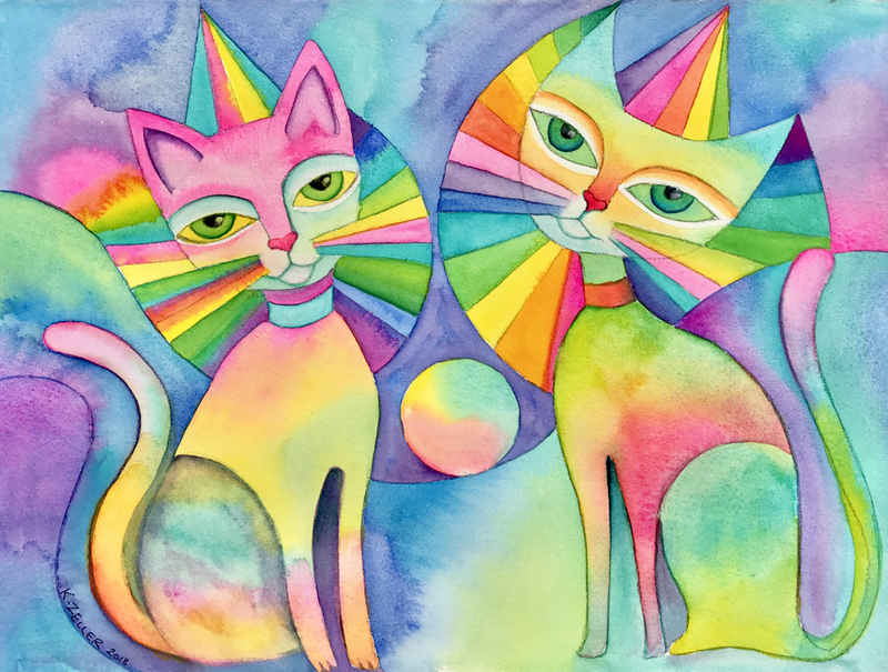 (CreativeWork) Carnival Cats   - watercolour on Arches paper, unframed by Karin Zeller. Watercolour Paint. Shop online at Bluethumb.