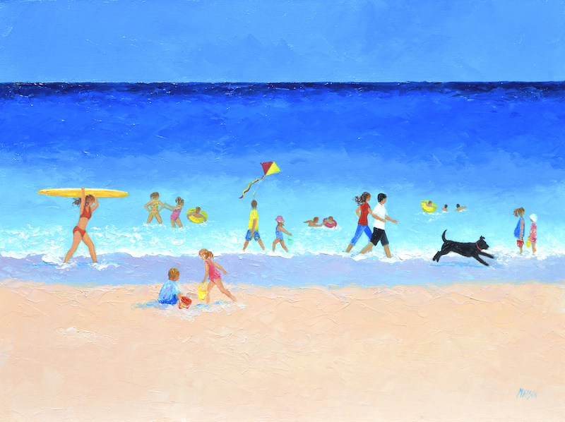 (CreativeWork) THE BEACH PARADE - SEASCAPE by Jan Matson. Oil Paint. Shop online at Bluethumb.