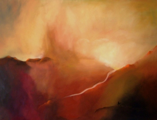 (CreativeWork) River of Gold by Raynette Mitchell. Oil Paint. Shop online at Bluethumb.