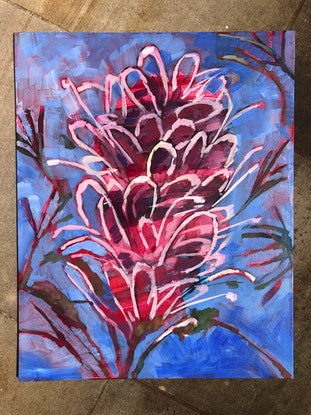 (CreativeWork) Misty Pink by Kate Gradwell. Acrylic Paint. Shop online at Bluethumb.