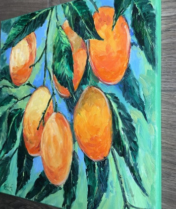 (CreativeWork) Mangoes by Irina Redine. Oil Paint. Shop online at Bluethumb.