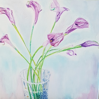 (CreativeWork) Purple lilies in a crystal vase by Vanessa Whittington. Acrylic Paint. Shop online at Bluethumb.