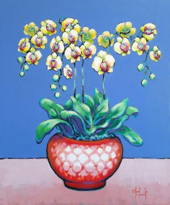 (CreativeWork) Yellow Orchids in Red-White Pot - STILL LIFE by Olga Kolesnik. Acrylic Paint. Shop online at Bluethumb.