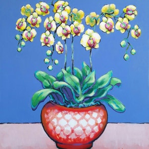 (CreativeWork) Yellow Orchids in Red-White Pot by Olga Kolesnik. arcylic-painting. Shop online at Bluethumb.
