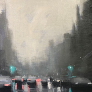 (CreativeWork) Early morning rain - rainy streetscape by Mike Barr. oil-painting. Shop online at Bluethumb.