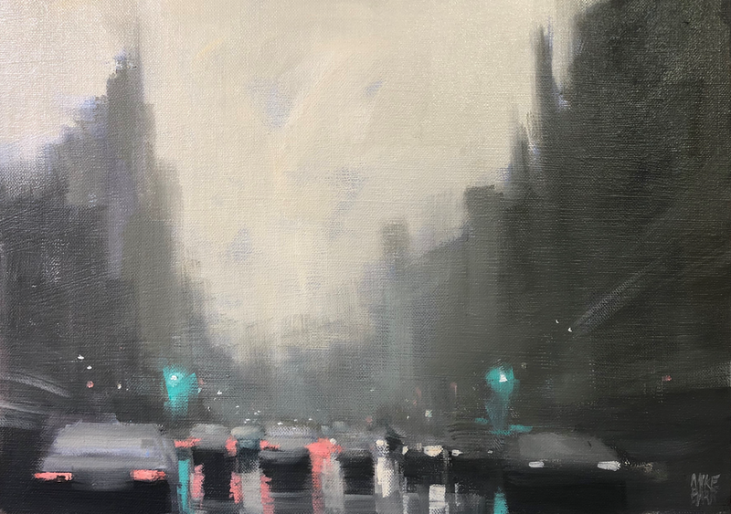 (CreativeWork) Early morning rain - rainy streetscape by Mike Barr. Oil Paint. Shop online at Bluethumb.