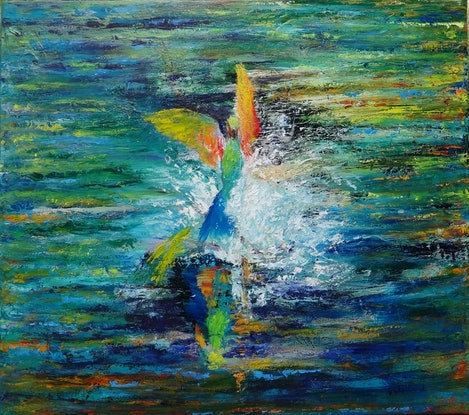 (CreativeWork) Rainbow Bee Eaters Bathtime  by Glenise Clelland. Oil Paint. Shop online at Bluethumb.
