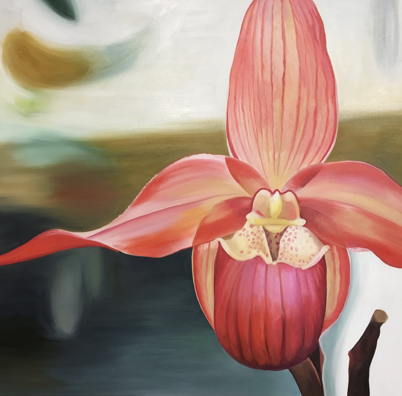(CreativeWork) Striped Orchid by Linda McGowan. Oil Paint. Shop online at Bluethumb.