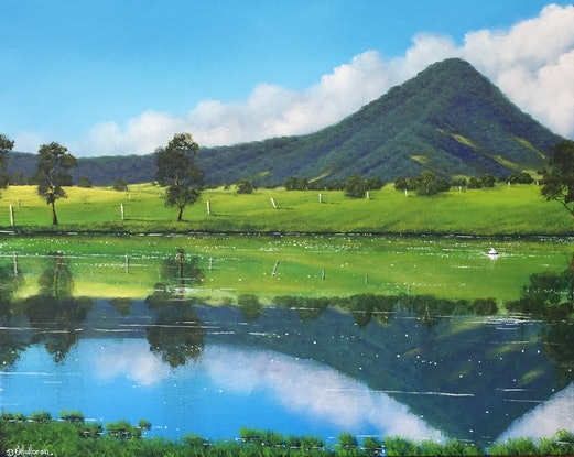 (CreativeWork) Reflections Of The Scenic Rim by David O'Halloran. Acrylic Paint. Shop online at Bluethumb.