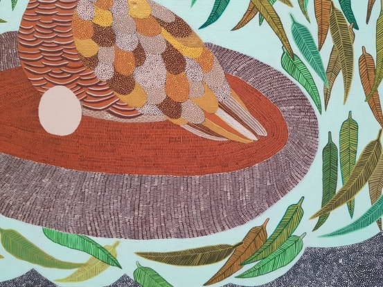 (CreativeWork) The Little Button Quail by Louise Hamill. Acrylic Paint. Shop online at Bluethumb.