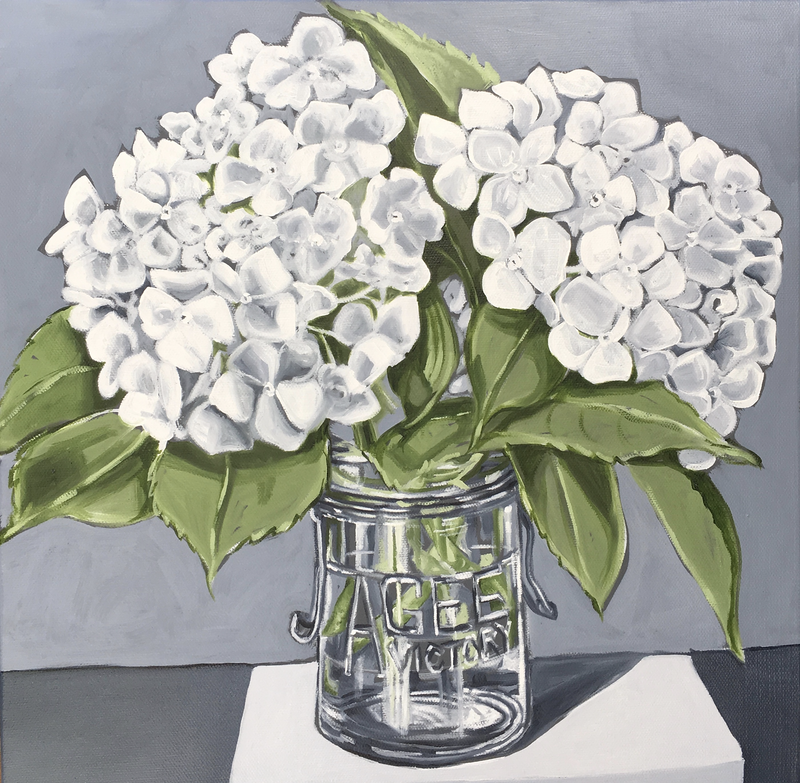 (CreativeWork) White Hydrangeas in Agee Jar by Alicia Cornwell. oil-painting. Shop online at Bluethumb.