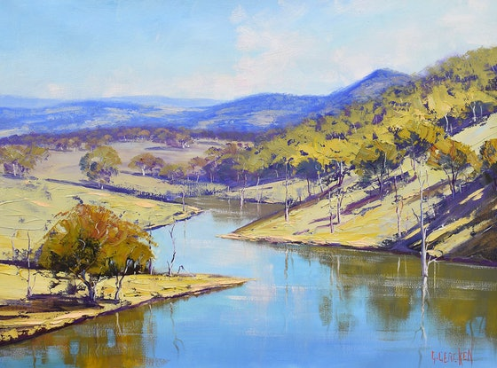 (CreativeWork) Lake Windermere nsw  by Graham Gercken. Oil Paint. Shop online at Bluethumb.