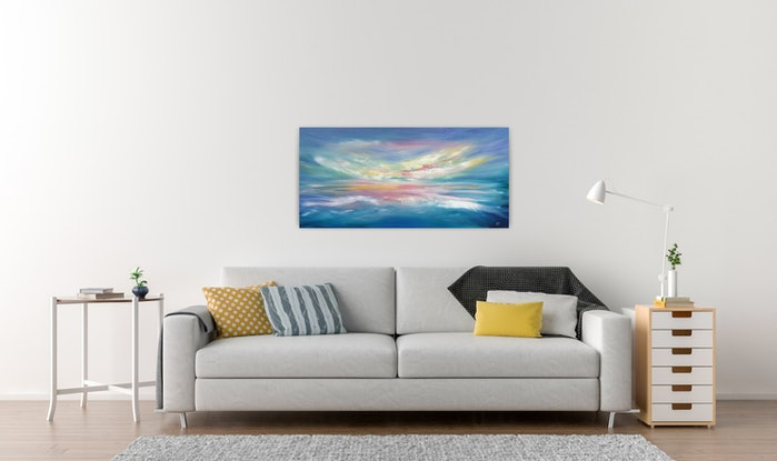 (CreativeWork) A Calm Heart - Long Abstract Beach Landscape by Angela Hawkey. Oil Paint. Shop online at Bluethumb.