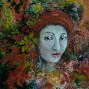(CreativeWork) Wallflower by Cathy Gilday. mixed-media. Shop online at Bluethumb.