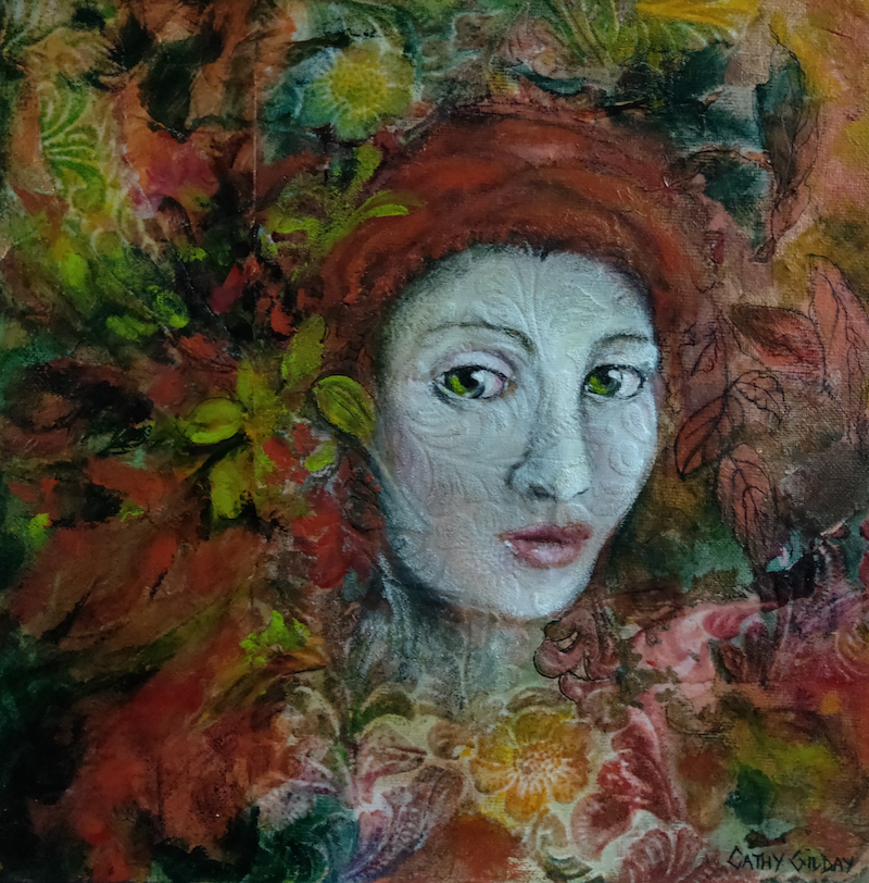 (CreativeWork) Wallflower by Cathy Gilday. Mixed Media. Shop online at Bluethumb.