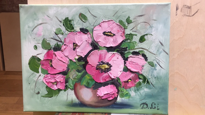 (CreativeWork) Flowers, painted  with linseed oil, made with a palette knife. by Daria likhacheva. Oil Paint. Shop online at Bluethumb.