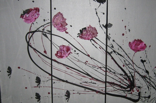 (CreativeWork) Cerise abstract poppies by Lynne ( Dorothy Lynne) Pickering. Acrylic Paint. Shop online at Bluethumb.