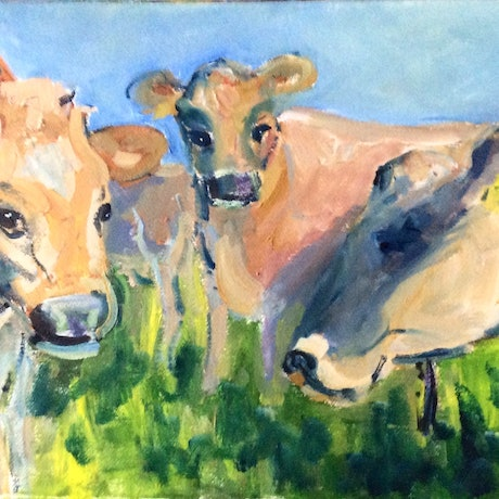 (CreativeWork) Moo by Gaye Shield. Mixed Media. Shop online at Bluethumb.