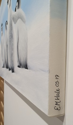 (CreativeWork) The Chicks of Antarctica by Erin Hale. Acrylic Paint. Shop online at Bluethumb.