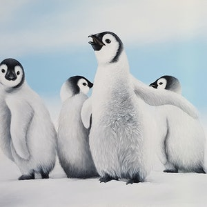 (CreativeWork) The Chicks of Antarctica by Erin Hale. arcylic-painting. Shop online at Bluethumb.