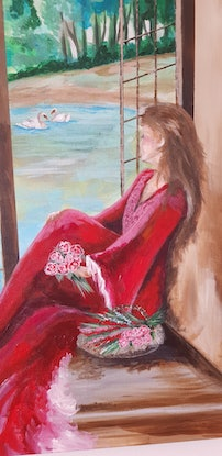 (CreativeWork) The window seat by Michelle Baxter. Acrylic Paint. Shop online at Bluethumb.