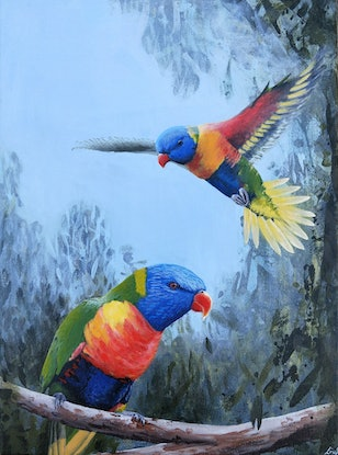 (CreativeWork) Rainbow Lorikeet Pair  by Lisa Gaudron. Acrylic Paint. Shop online at Bluethumb.
