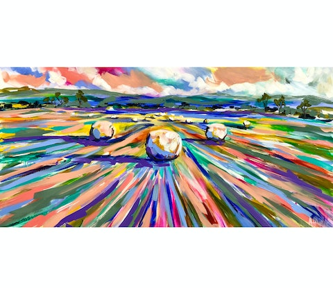 (CreativeWork) Harvest to hay time  by Amanda Brooks. #<Filter:0x00007f1079be6438>. Shop online at Bluethumb.
