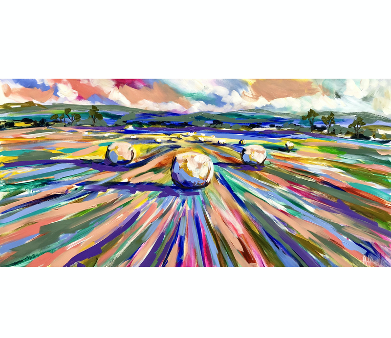(CreativeWork) Harvest to hay time  by Amanda Brooks. acrylic-painting. Shop online at Bluethumb.
