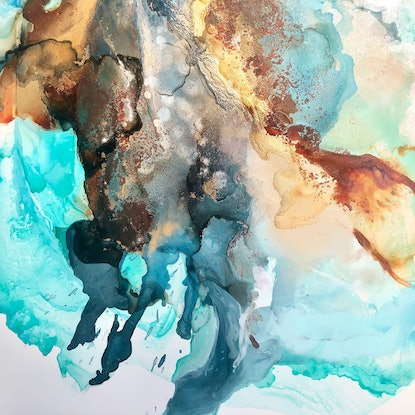 (CreativeWork) Gold Rush by Michelle Drougas. Mixed Media. Shop online at Bluethumb.