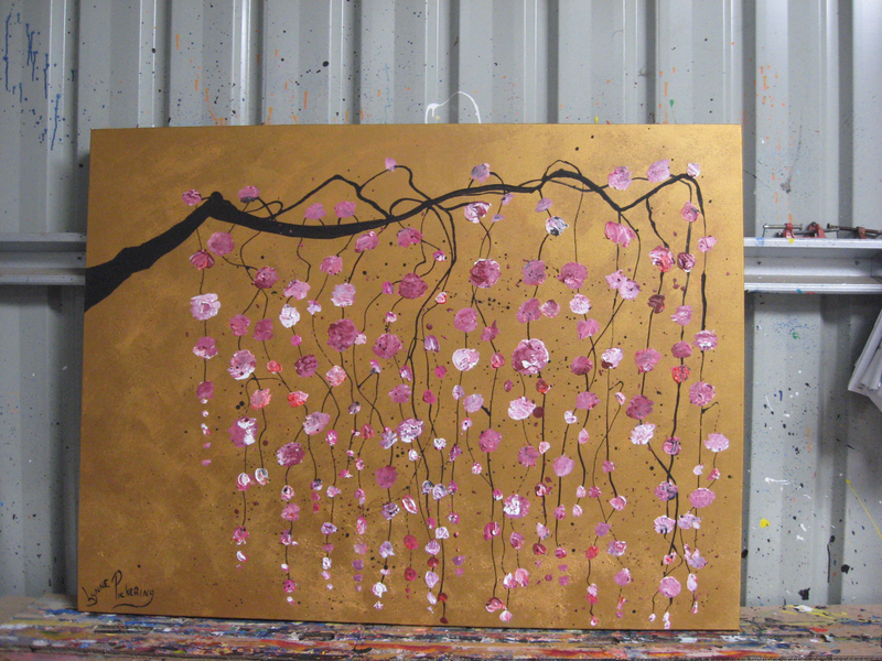(CreativeWork) Gold Feng Sui pink blossoms by Lynne ( Dorothy Lynne) Pickering. Acrylic Paint. Shop online at Bluethumb.