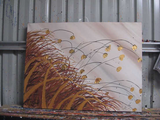(CreativeWork) Gold beach poppies abstract by Lynne ( Dorothy Lynne) Pickering. Acrylic Paint. Shop online at Bluethumb.