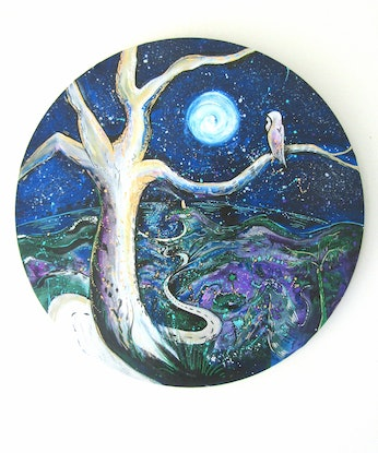 (CreativeWork) Night Owl by Unity Zilles. Acrylic Paint. Shop online at Bluethumb.