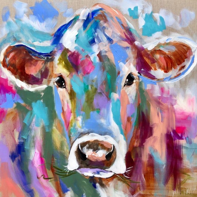 (CreativeWork) Dairy Belle  by Amanda Brooks. arcylic-painting. Shop online at Bluethumb.