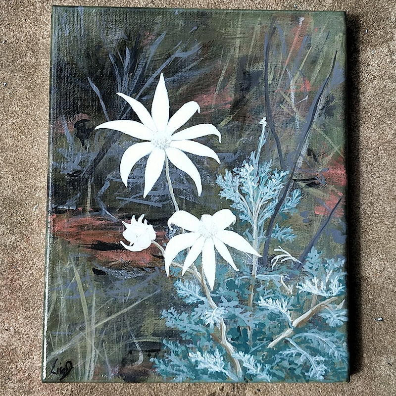 (CreativeWork) Flannel Flowers  by Lisa Gaudron. Acrylic Paint. Shop online at Bluethumb.