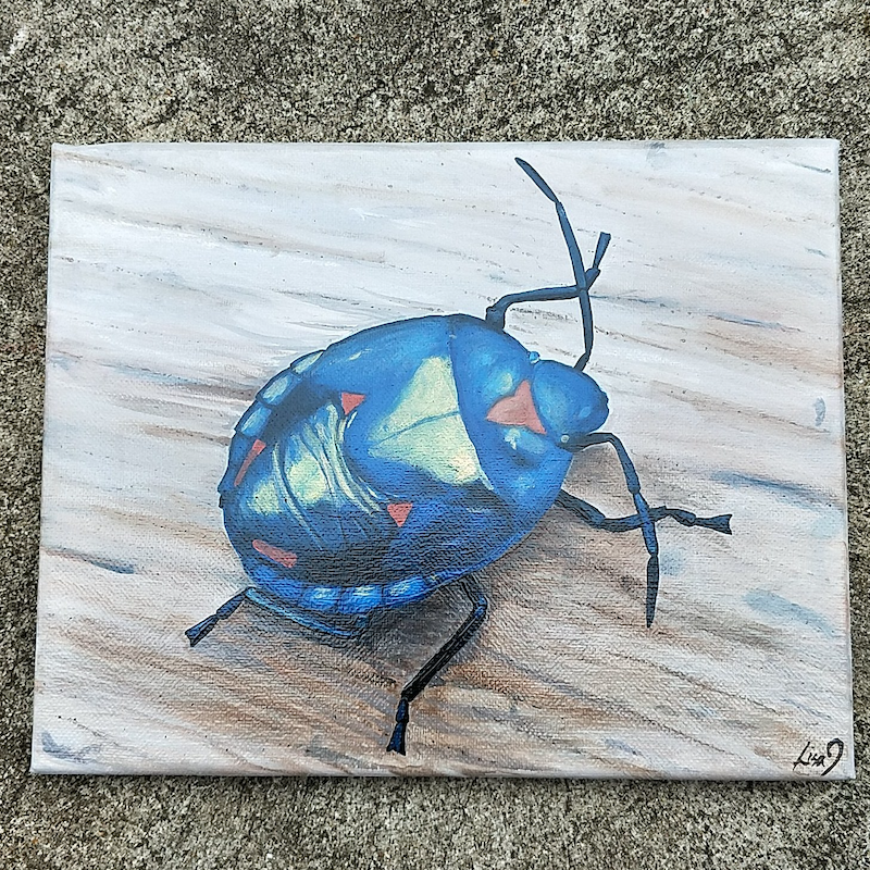 (CreativeWork) Iridescent Beetle  by Lisa Gaudron. Acrylic Paint. Shop online at Bluethumb.