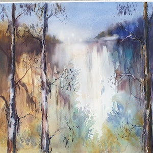 (CreativeWork) WATERFALL by Anki Wickison. watercolour. Shop online at Bluethumb.