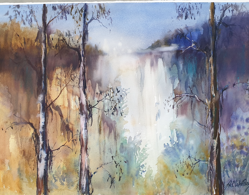 (CreativeWork) WATERFALL by Anki Wickison. Watercolour Paint. Shop online at Bluethumb.