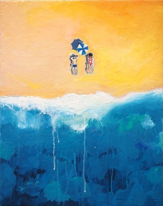 (CreativeWork) Sea, Beach and Sun by Tulika Das. Acrylic Paint. Shop online at Bluethumb.